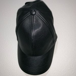 Women's Black Pleather Hat